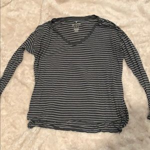 Grey and white stripe American eagle long sleeve